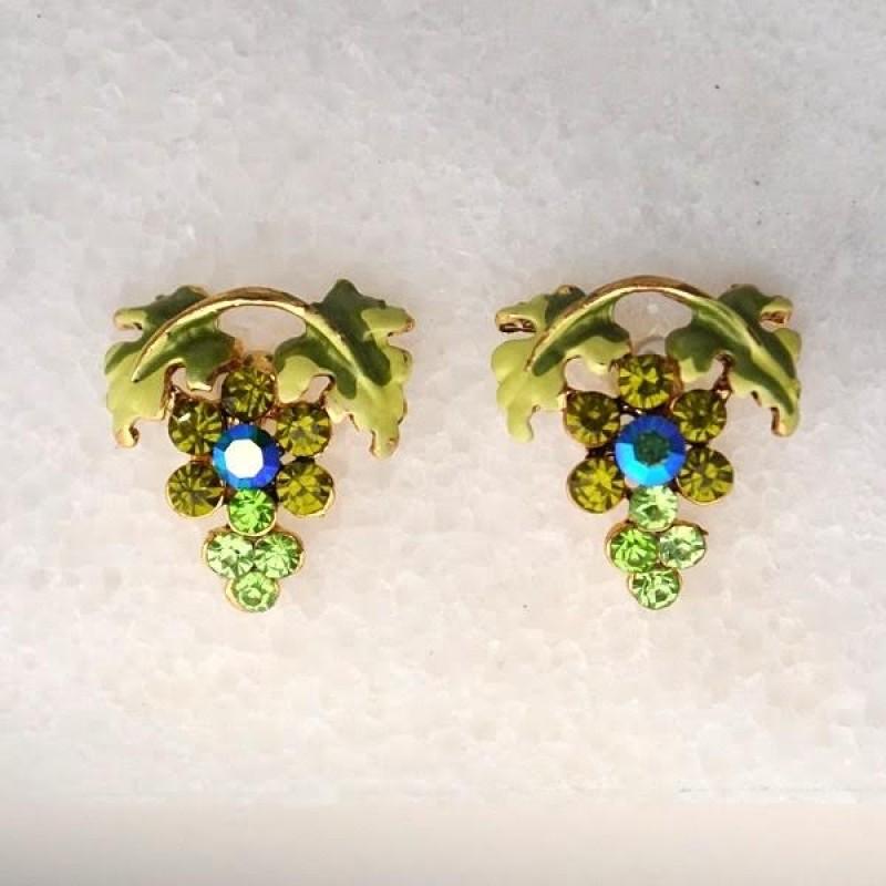 Austrian Crystal Grap Earrings - Item #UE 65a - 1/2 in x 5/8 in